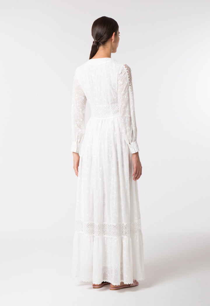 Choice Elegant Floral Embroidery Dress Offwhite