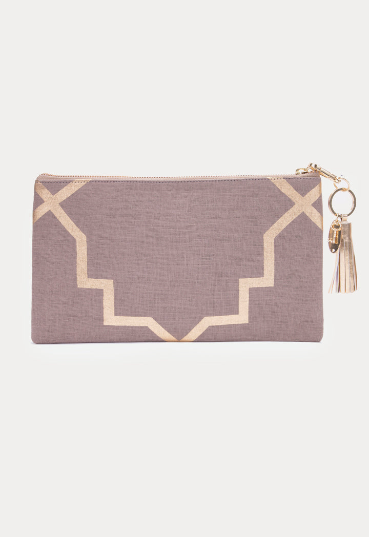 Choice Contrast Geometric Print Pouch Bag Khaki - Wardrobe Fashion