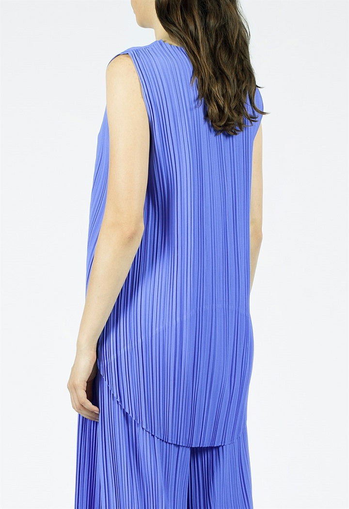 Nu Sleeveless Pleated Dip Hem Blouse Blue