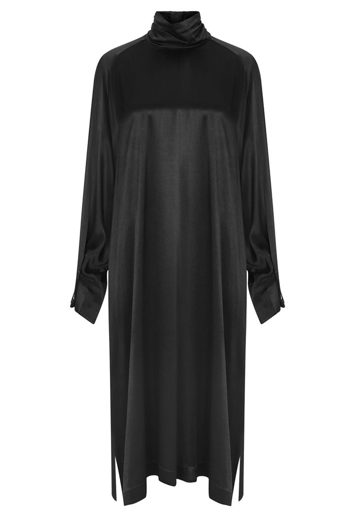 Nu Long Sleeve High Neck Shift Midi Dress Black