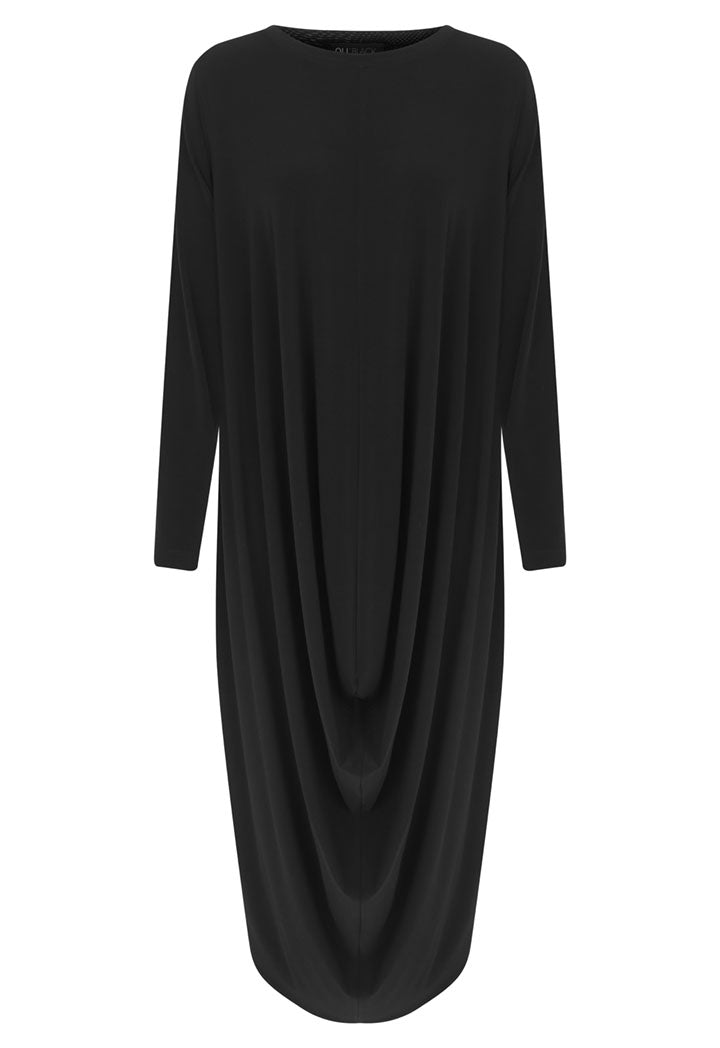 Nu Long Sleeve Front-Drape Asymmetrical Hem Maxi Dress Black