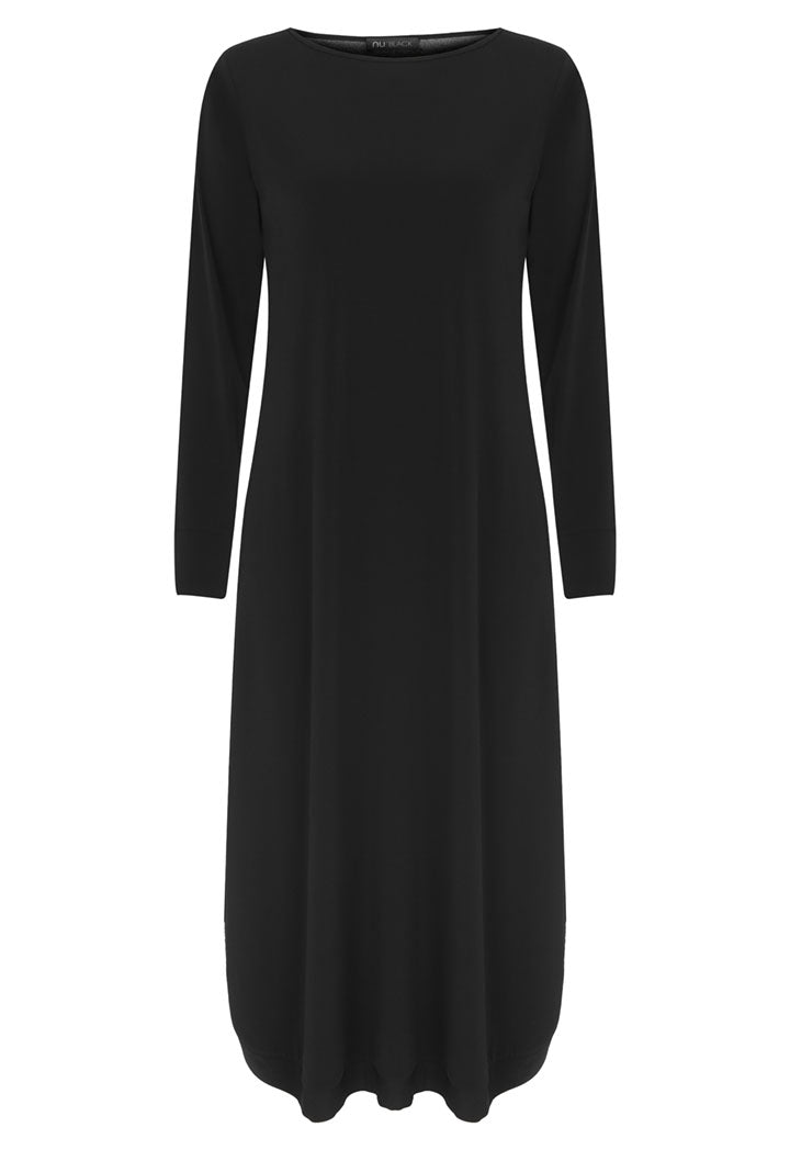 Nu Long Sleeve Relaxed Fit Midi Dress Black