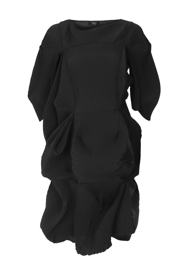 Nu Three-Quarter Sleeve Patch Detail Pleated Midi Dress Black