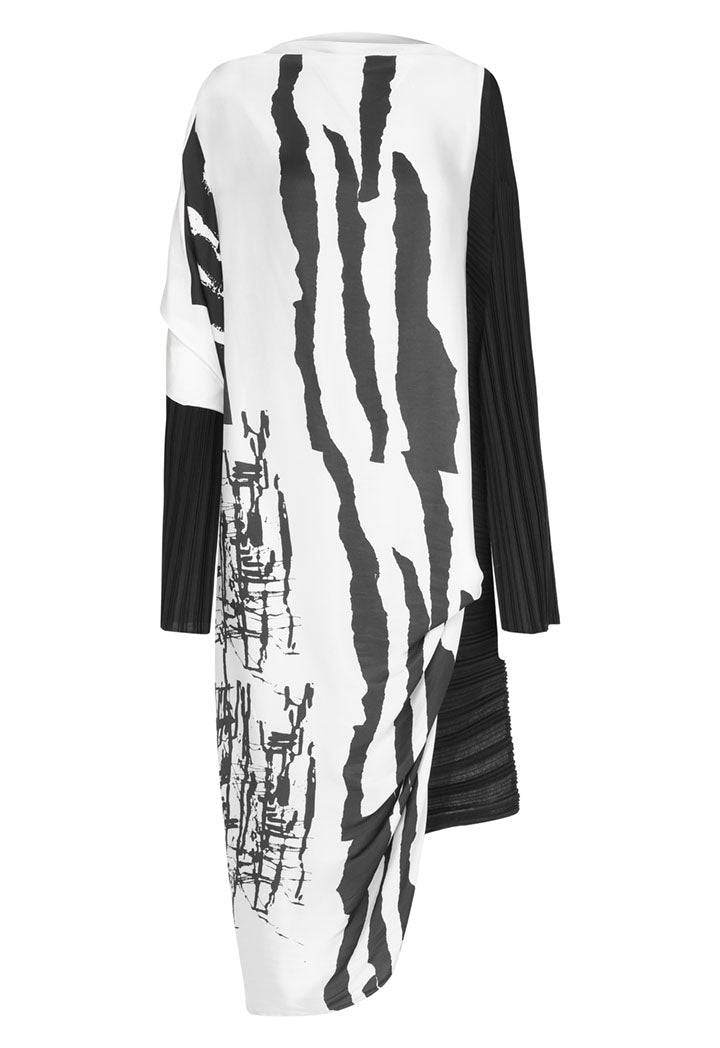Nu Printed Long Sleeve Front-Drape Asymmetrical Hem Pleated Dress Black Comp