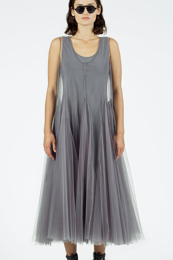Nu Sleeveless Organza Maxi Dress Foggy