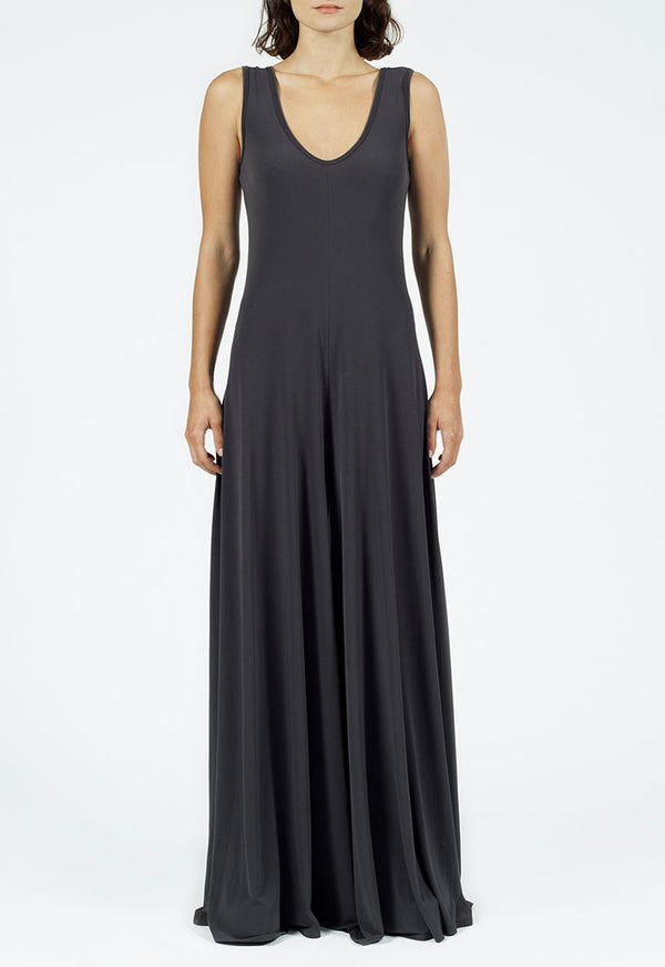 Nu Sleeveless A-Line Long Dress Smoky