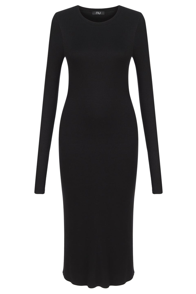Nu Military Knit Long Sleeve Midi Dress 900 Black