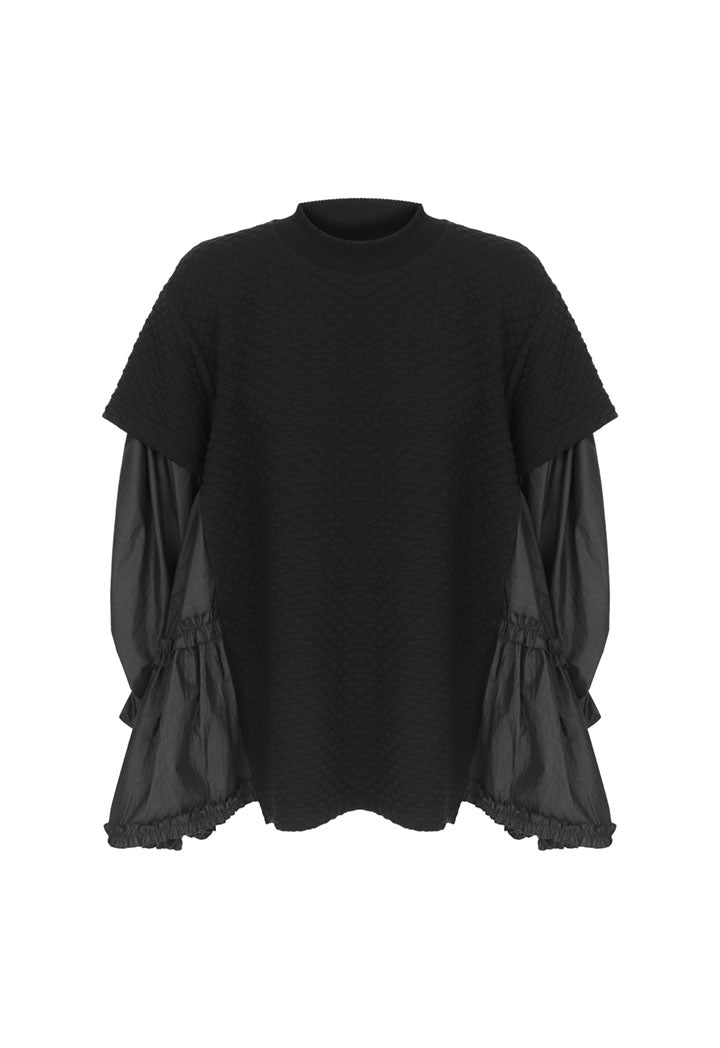 Nu Long Sleeve Side-Tiered Detail Quilted T-Shirt  Black