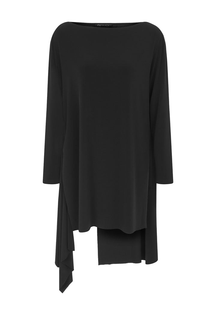 Nu Long Sleeve Asymmetrical Hem Long T-Shirt Black