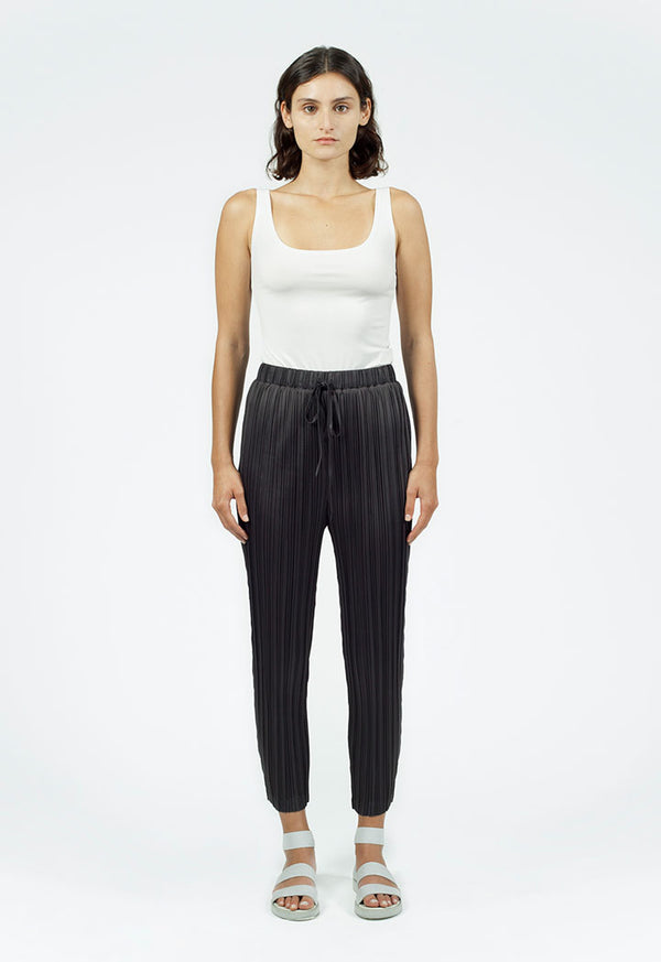 Nu Drawstring Waist Pleated Trouser Smoky