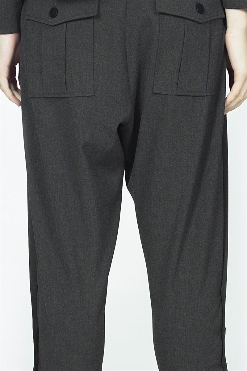 Nu Military High Waist Button Detail Trouser 802 Grey Melanj