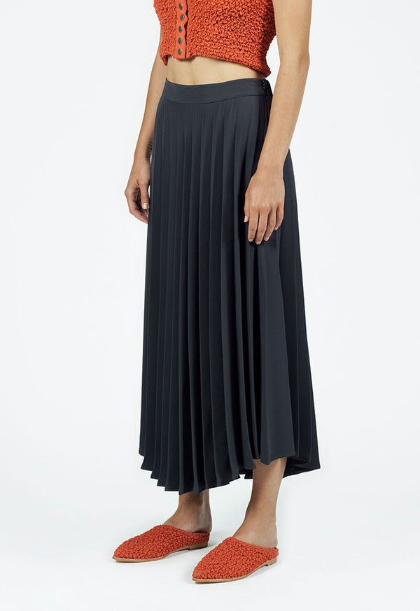Nu High Waist Pleated A-Line Maxi Skirt Smoky