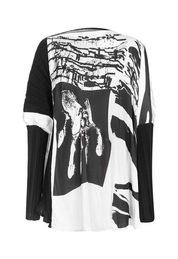 Nu Printed Long Sleeve Pleated Relaxed Fit Blouse Black Comp
