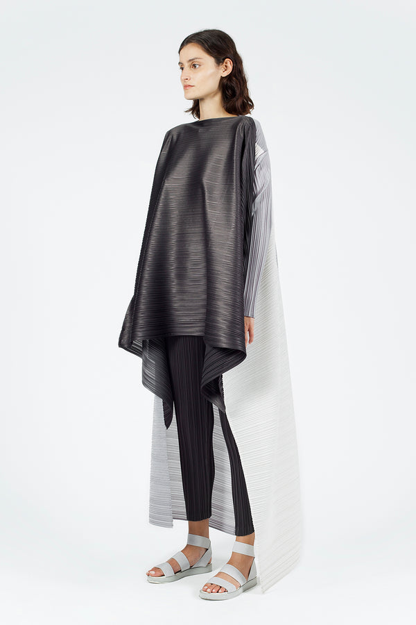 Nu Long Sleeve Dip Hem Pleated Wide Blouse Stone Comp
