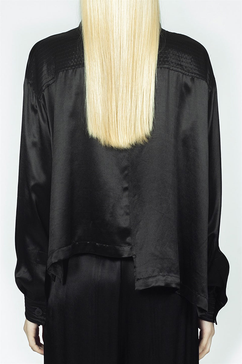 Nu Long Sleeve Asymmetrical Hem Shirt Black