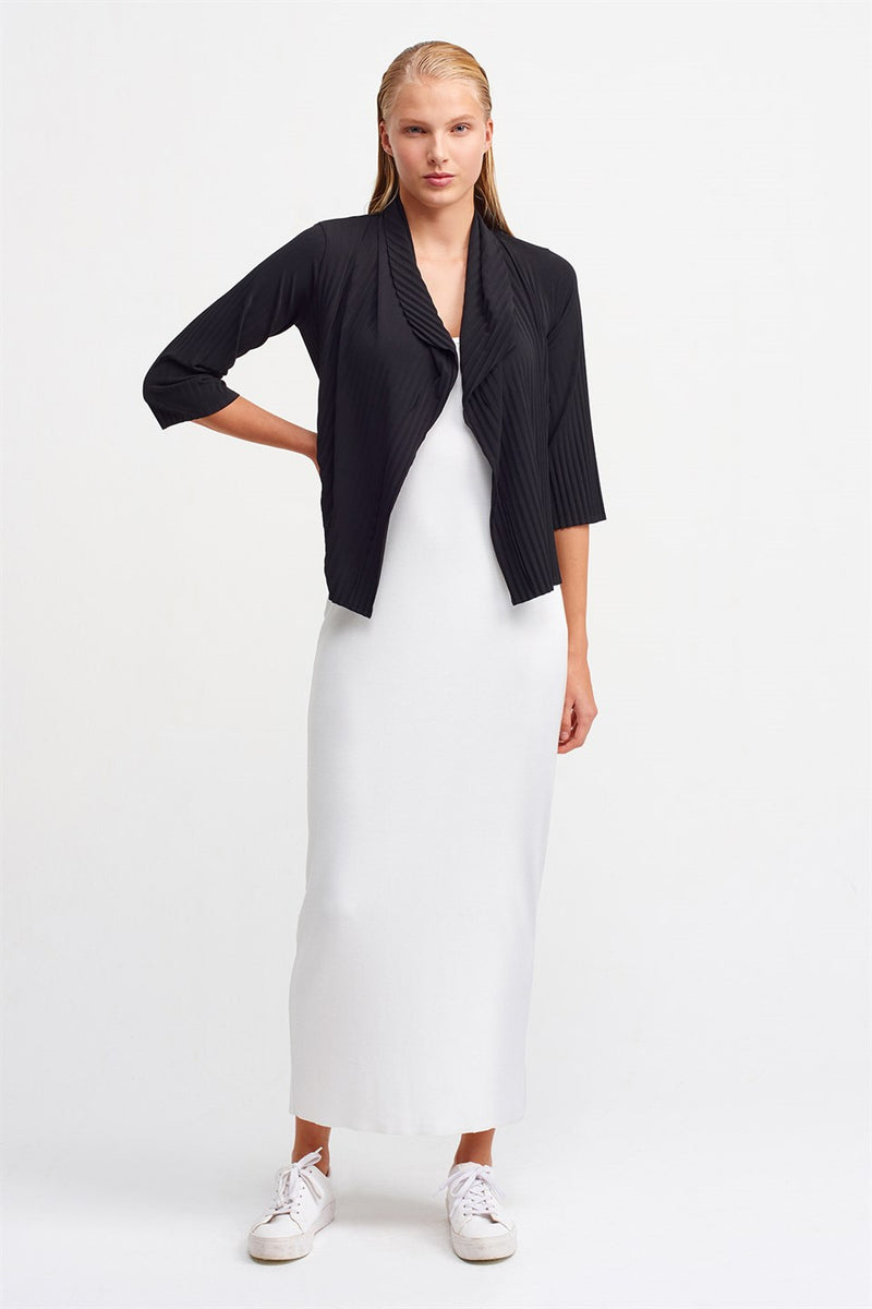 Nu Three-Quarter Sleeve Open-Front Pleated Outerwear Black