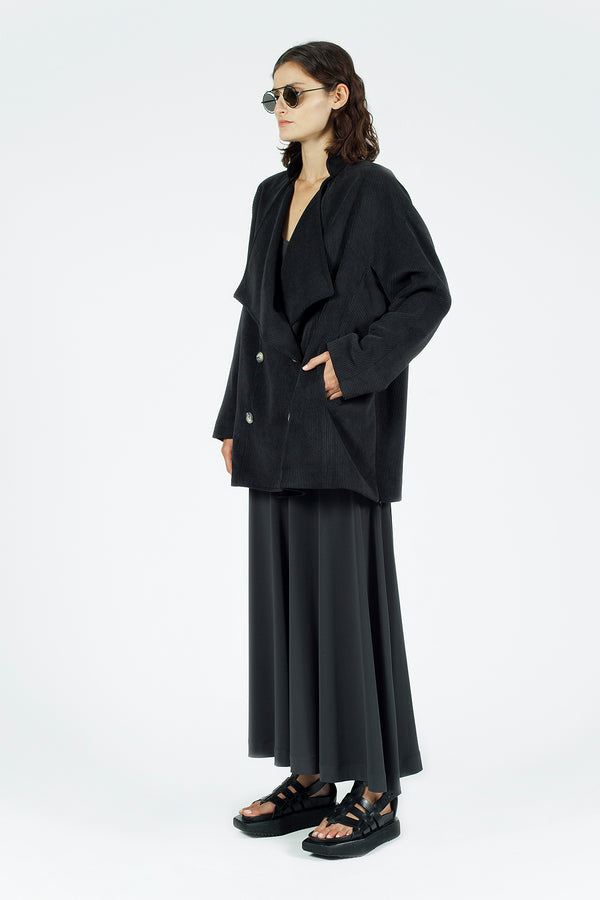 Nu Long Sleeve Double Breasted Pleated Outerwear Smoky