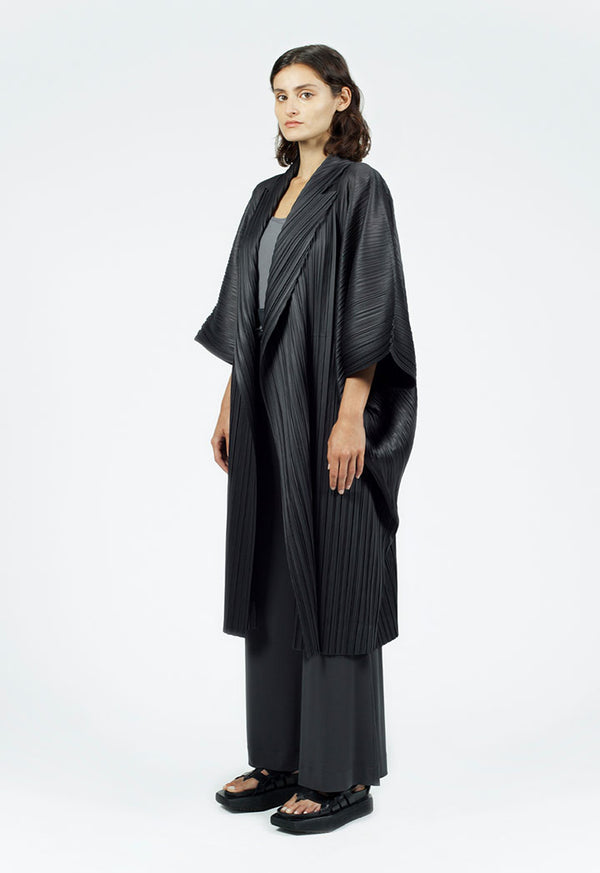 Nu Wide Sleeve Open-Front Pleated Outerwear Smoky