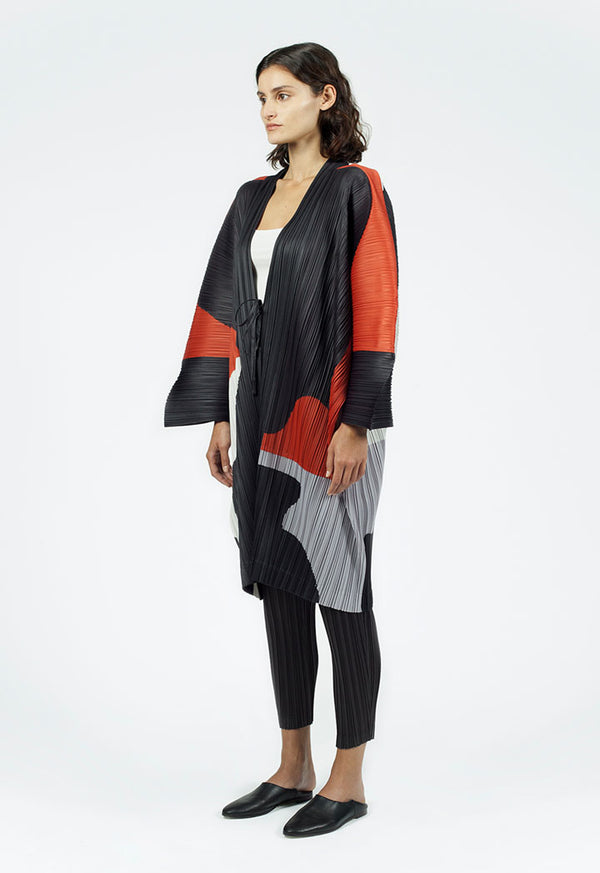 Nu Wide Sleeve Pleated Outerwear Stone Comp