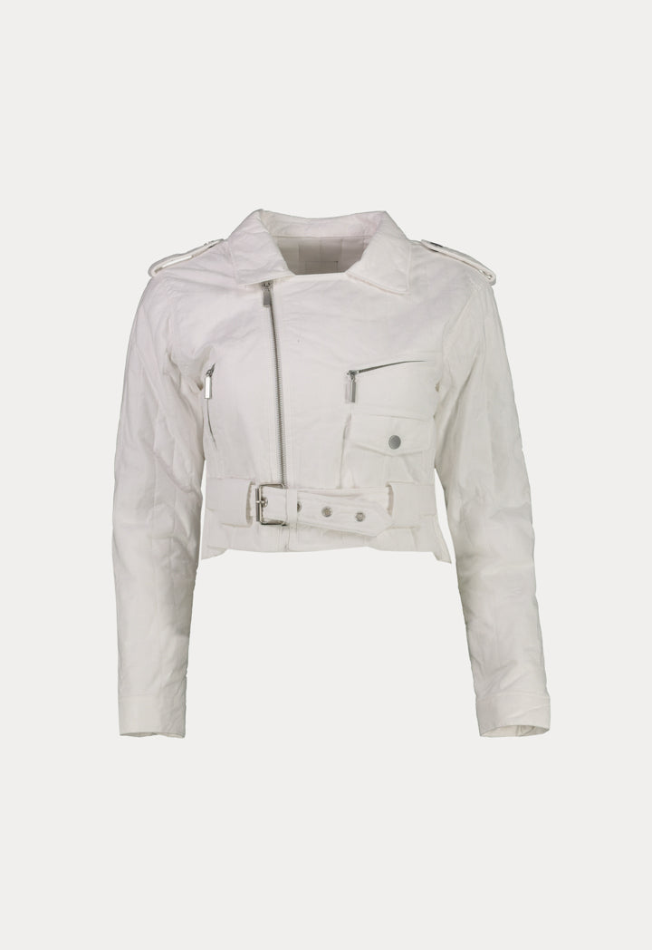 Nu Quilted Long Sleeve Zip Up Jacket White