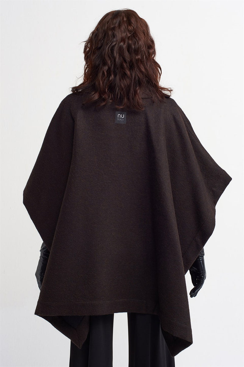 Nu Wool Oversized Poncho Brown