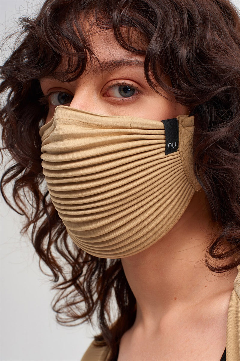 Nu Pleated Face Mask Beige