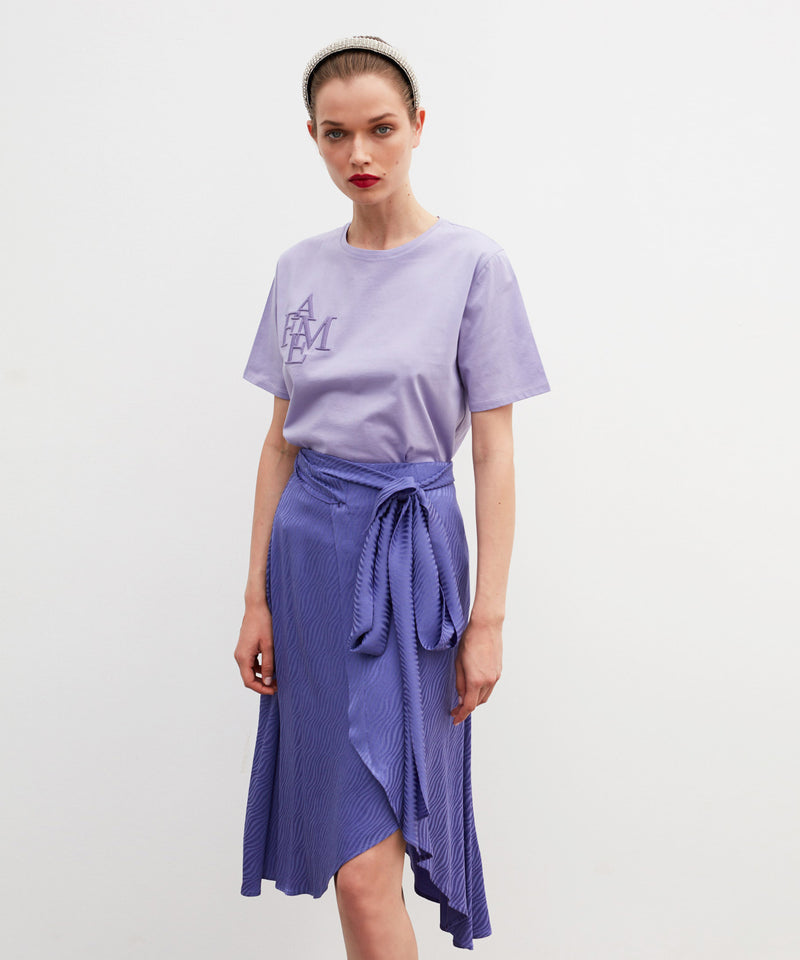 Ipekyol Fame-Embroidered Short Sleeve T-Shirt Purple