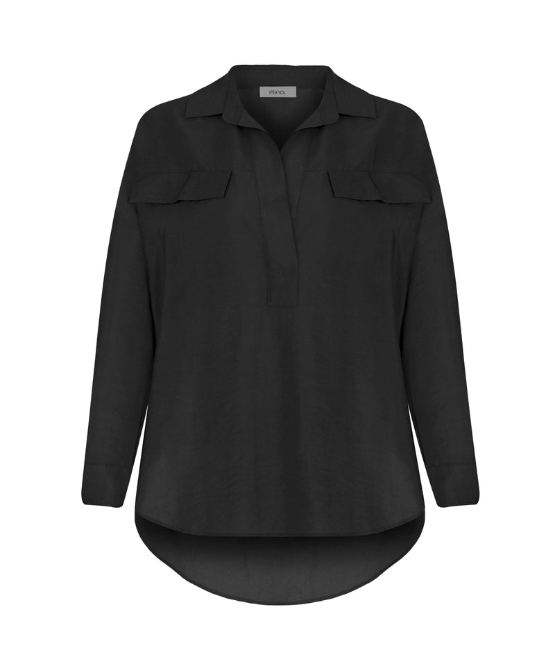 Ipekyol Long Sleeve Relax Fit Dip Hem Blouse Black