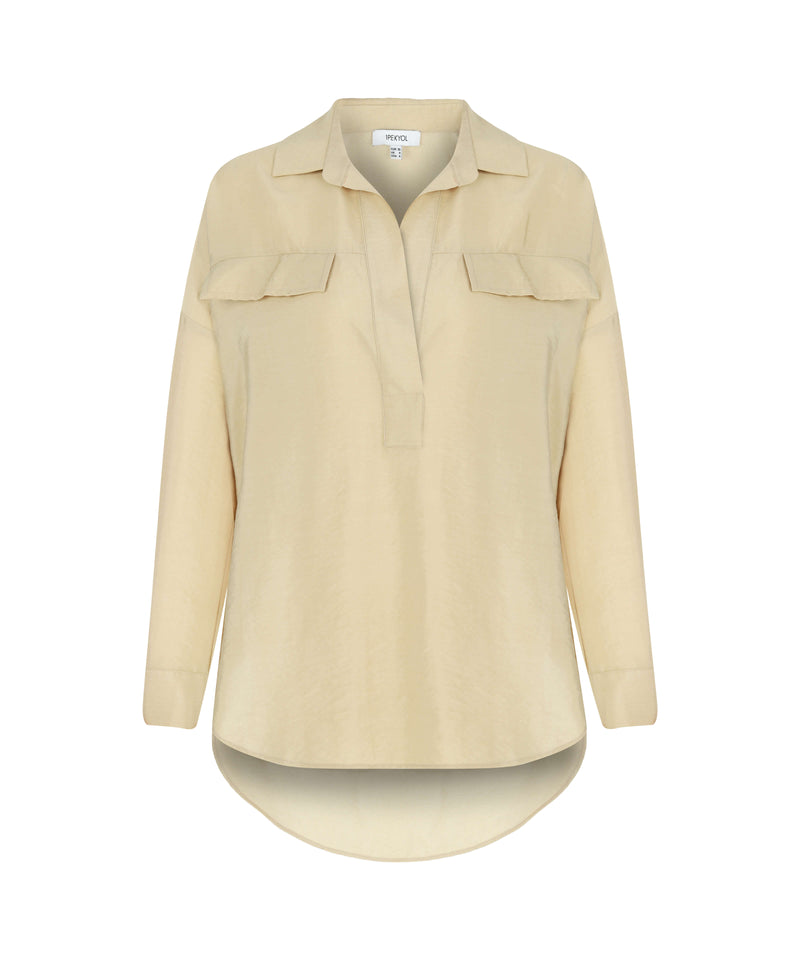 Ipekyol Long Sleeve Relax Fit Dip Hem Blouse Natural