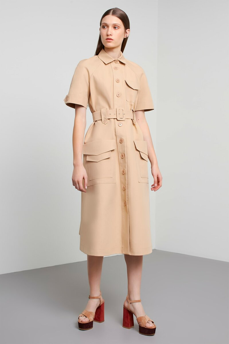 Machka Short Sleeve Belted A-Line Midi Shirt Dress Beige