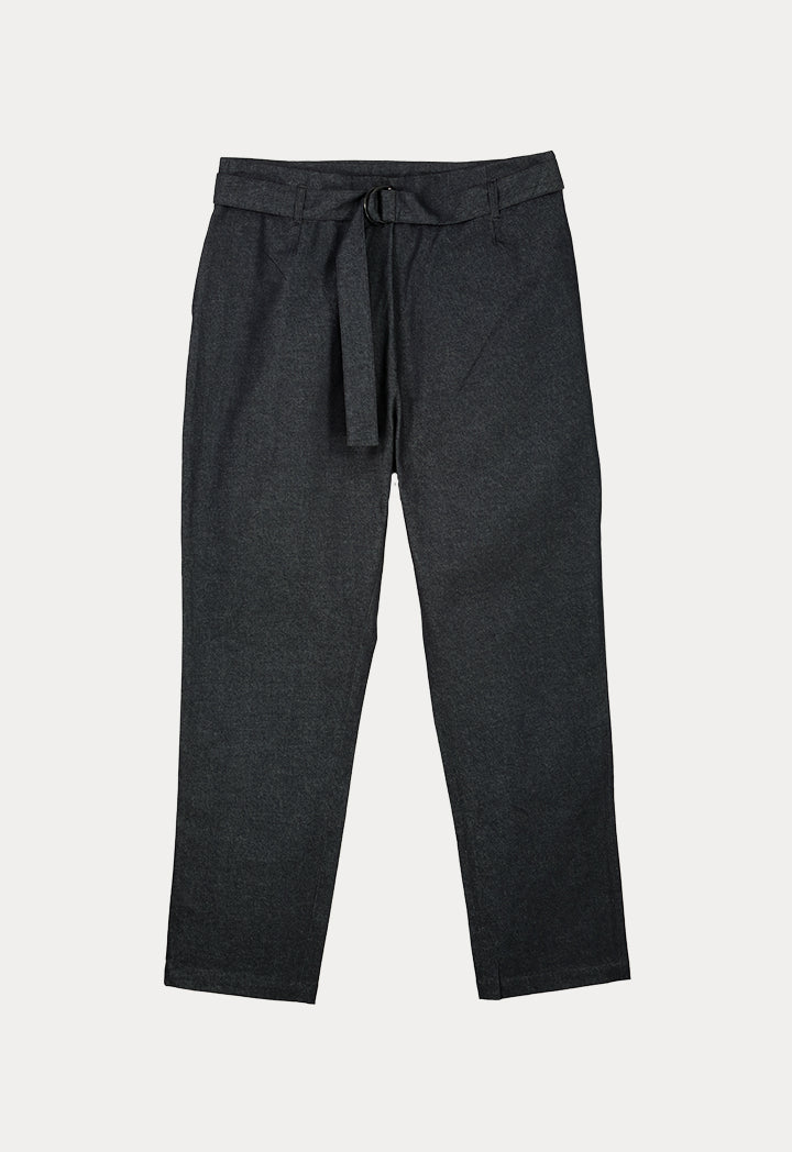 UNQ Denim Belted Straight Cut Trouser DARK GREY