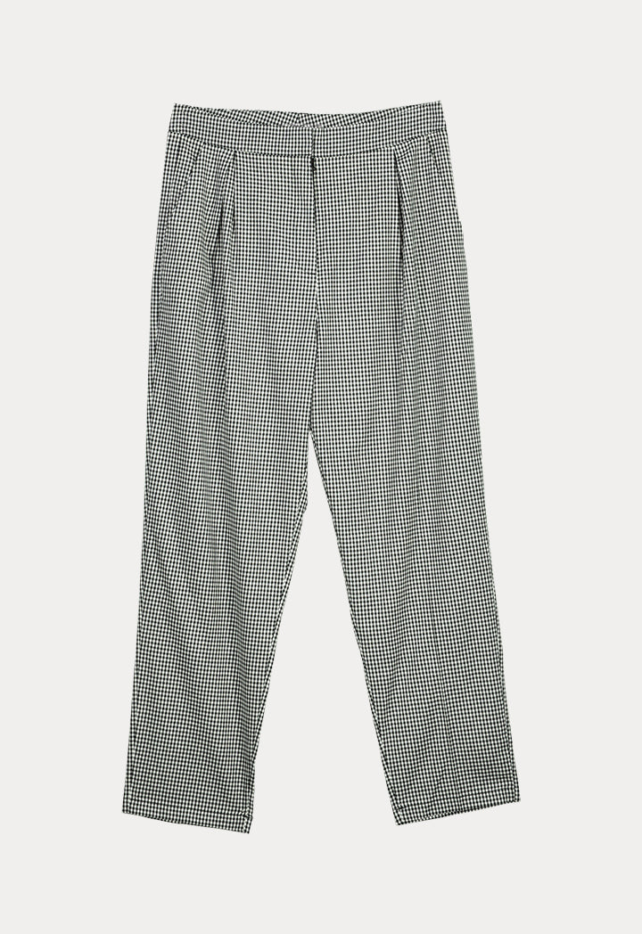 UNQ Checkered Pleated Slim Fit Trouser BLACK