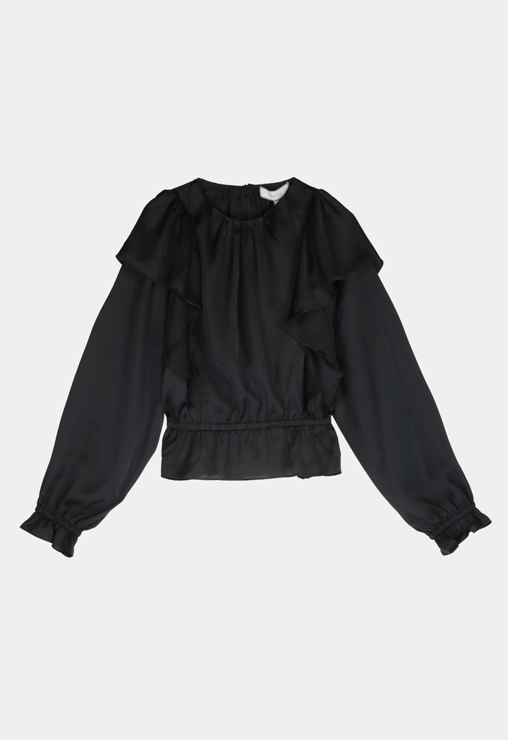 BERRIN Round Neck Ruffle Long Sleeve Blouse BLACK