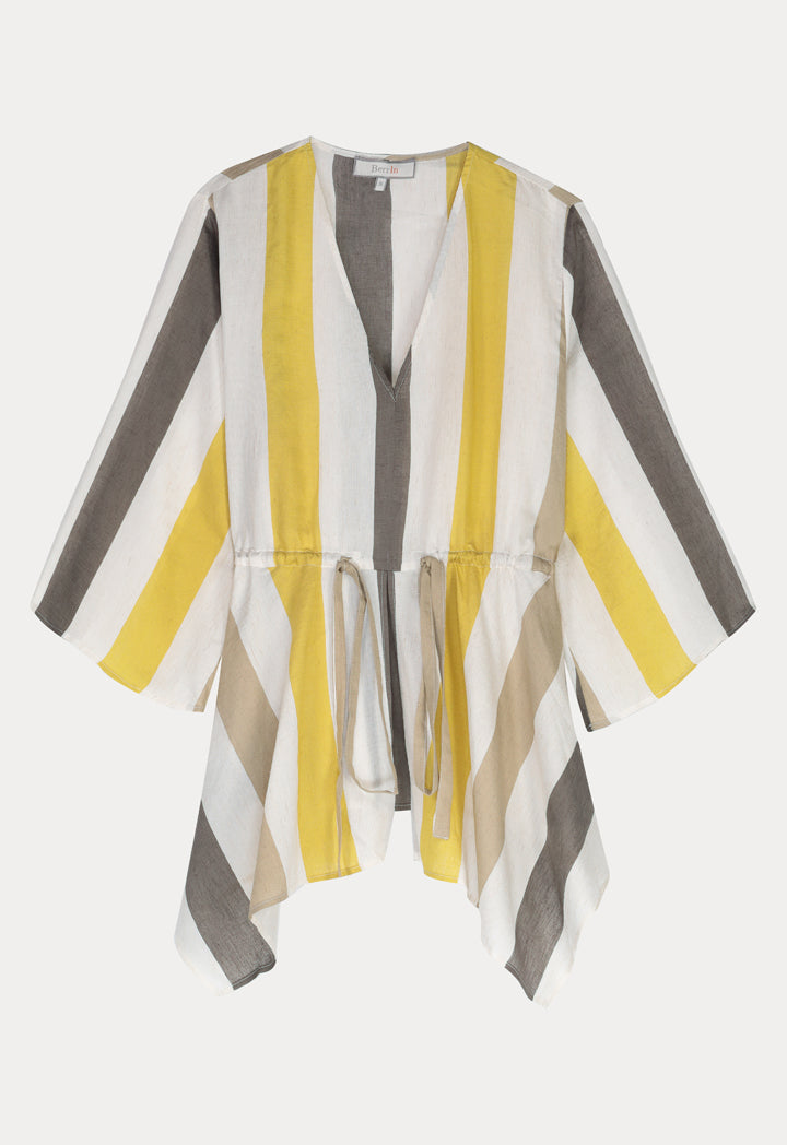 BERRIN Striped Asymmetrical Long Sleeve Blouse SAFFRON
