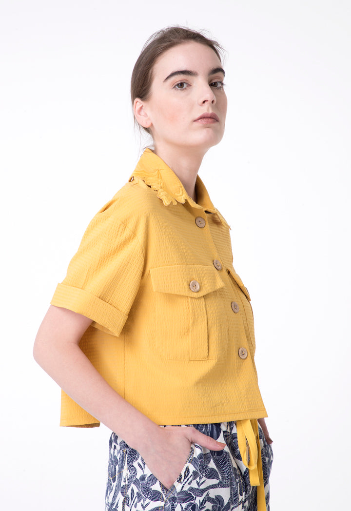 Exquise Shirt Embroied Neck S Yellow