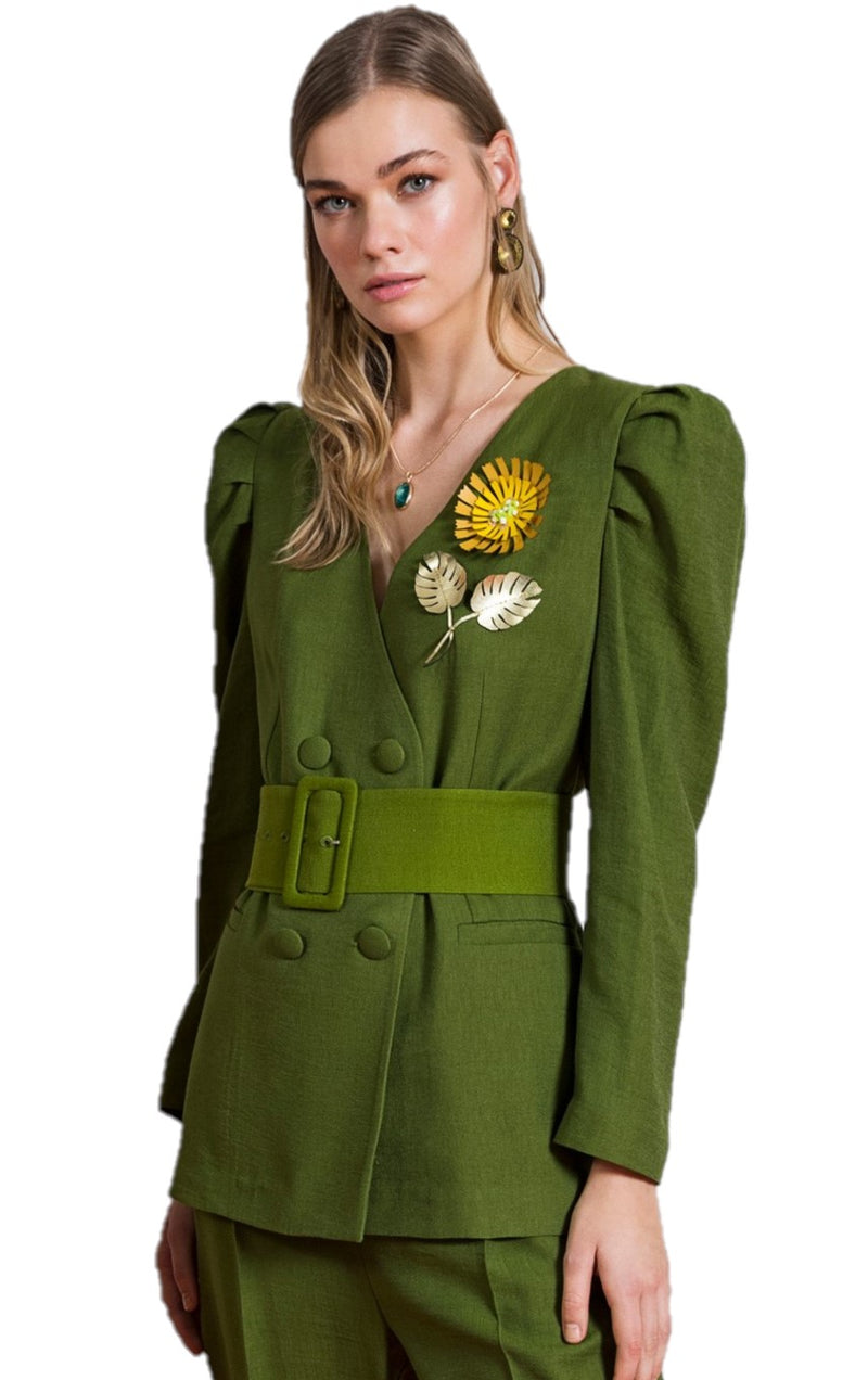 BERRIN Embellished Long Sleeve Belted Jacket OLIVE