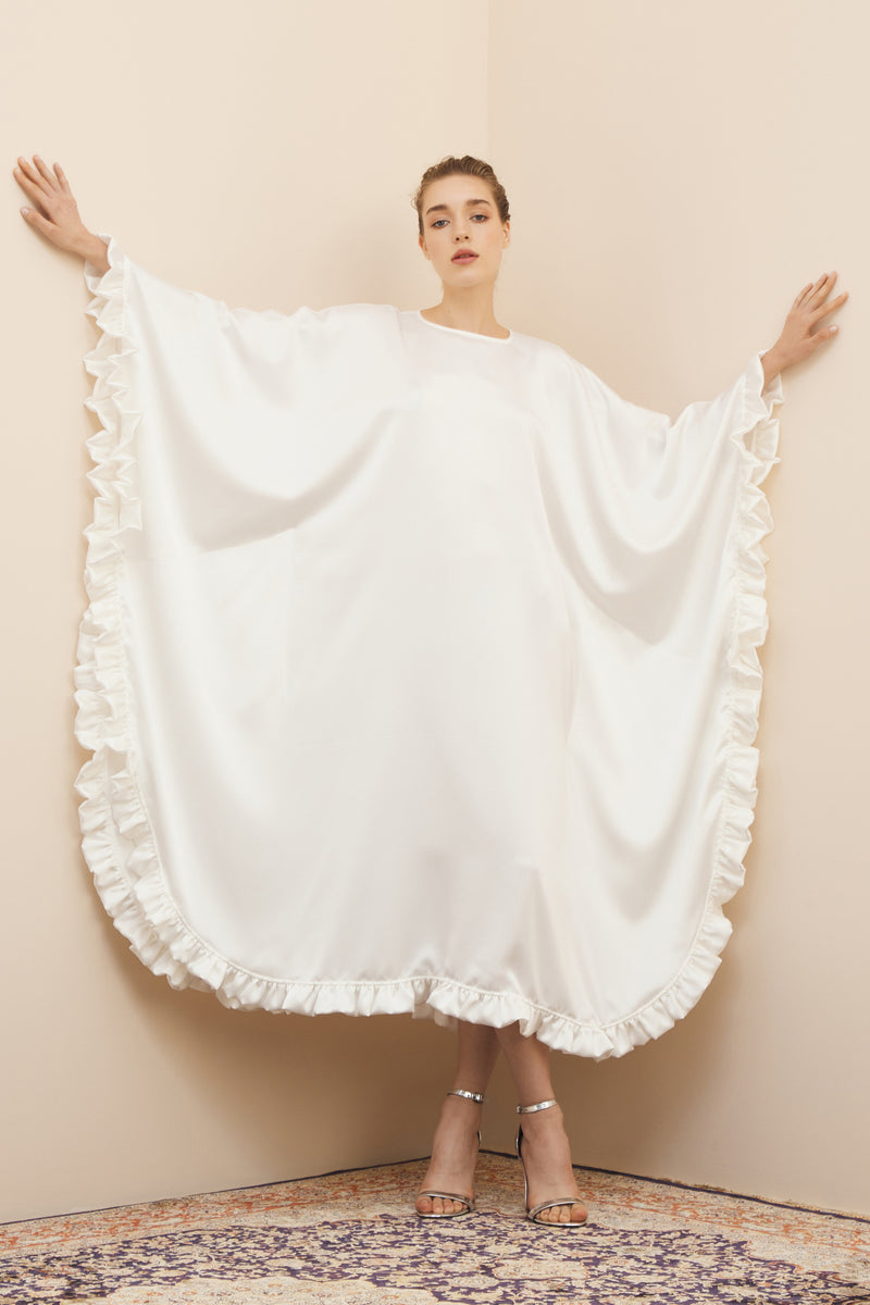 NIHAN PEKER CAPE-EFFECT SULTAN DRESS WITH BEADED RUFFLES WHITE