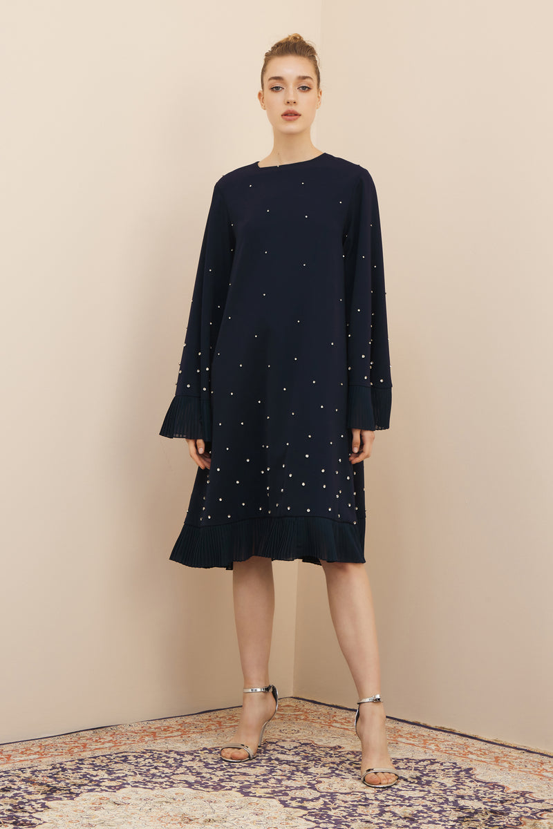 NIHAN PEKER DOT DRESS WITH EMBROIDERY NAVY