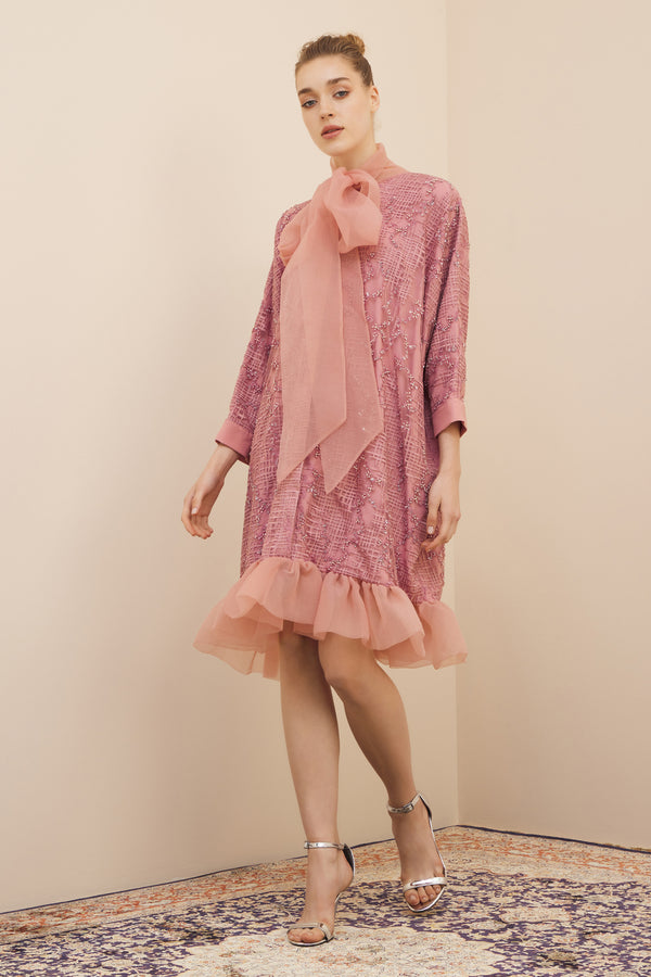 NIHAN PEKER PUSSY-BOW ORGANZA & BEADED DRESS ROSE PINK