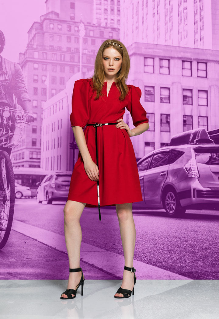 Kameya Short Sleeve Belted A-Line Mini Dress Red