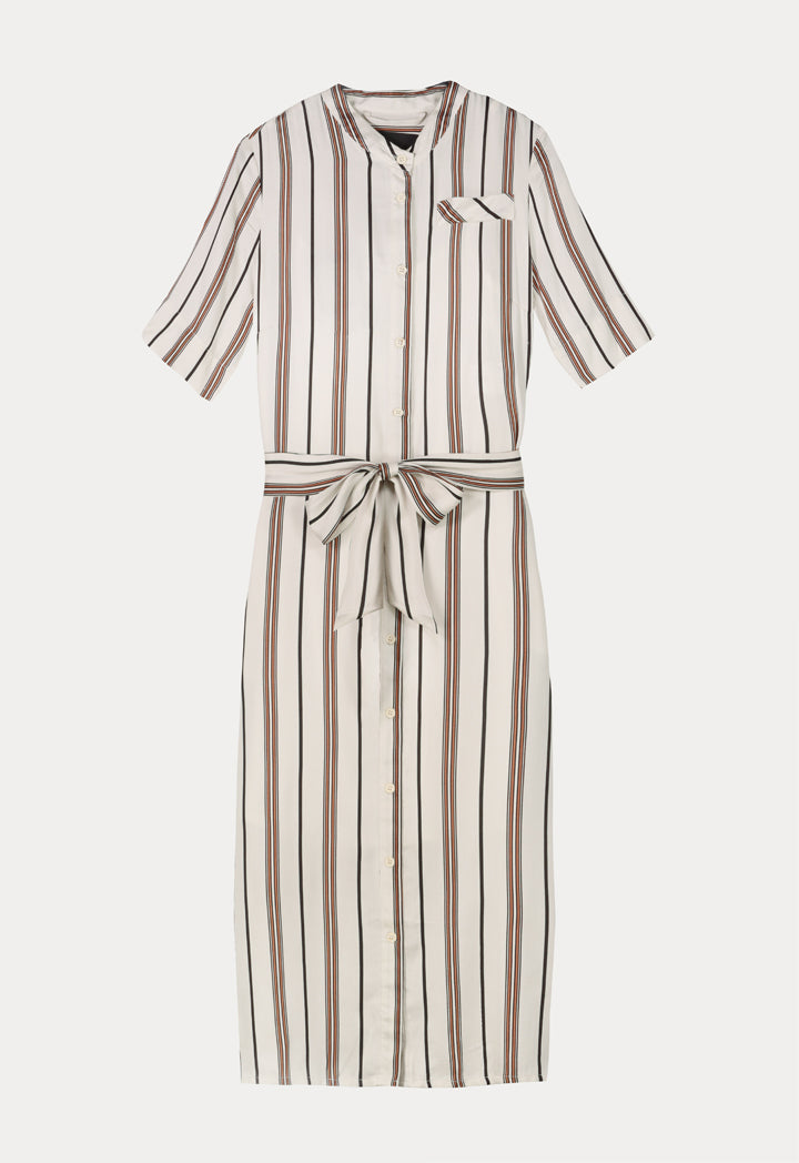 Apanage Striped Short Sleeve Belted Midi Dress Multi Color