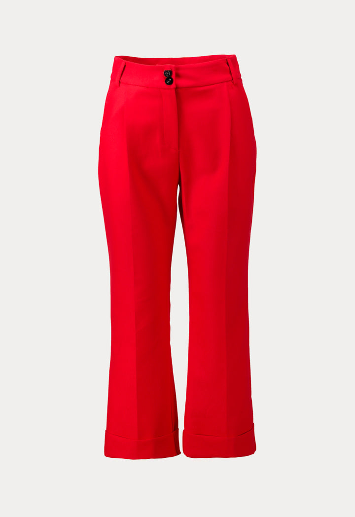 Kameya Straight Cut Leg Cuff Trouser Red