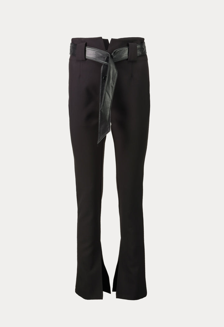 Kameya High Waist Side Slit Skinny Trouser Black