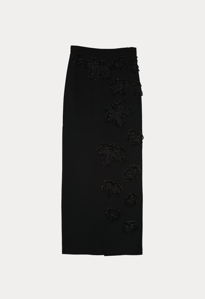 NIHAN PEKER LEAF SKIRT BLACK