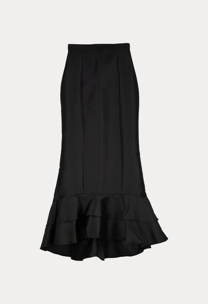 NIHAN PEKER LAYERED RUFFLE SKIRT  BLACK