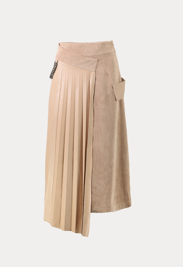 Kameya High Waist Pleated Overlay Maxi Skirt Beige