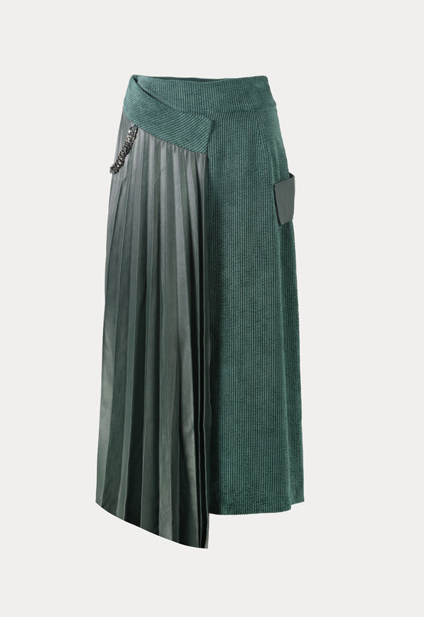 Kameya High Waist Pleated Overlay Maxi Skirt Green