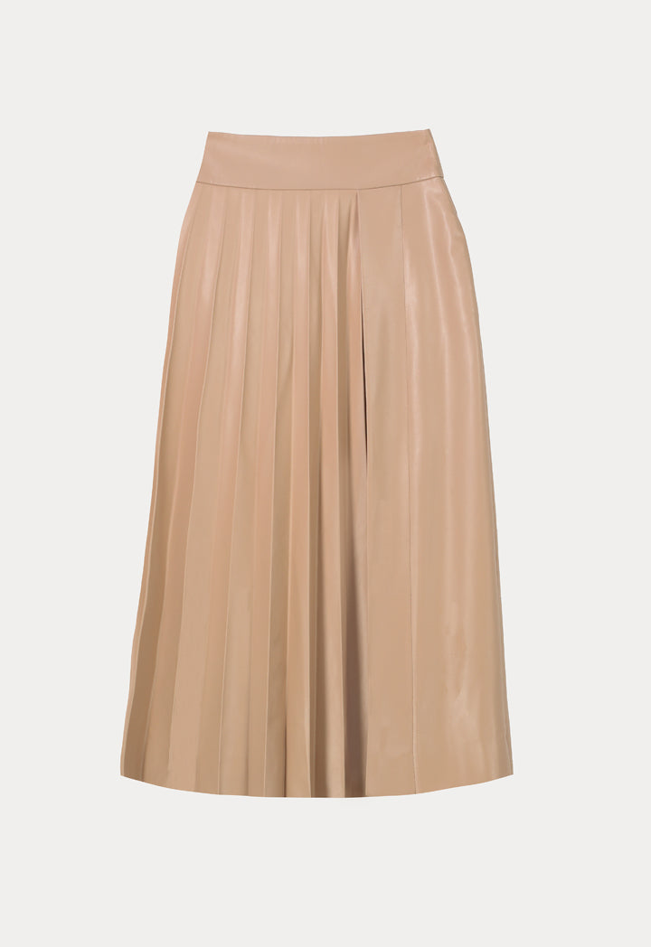 Kameya Pleated A-Line Midi Skirt Beige