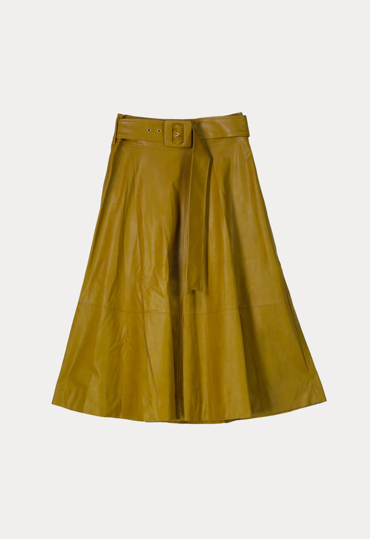 Kameya High Waist Belted A-Line Midi Skirt Oil Green