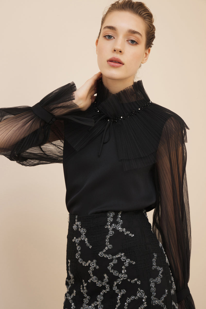 NIHAN PEKER TULLE COLLAR TWO PIECE BLOUSE BLACK
